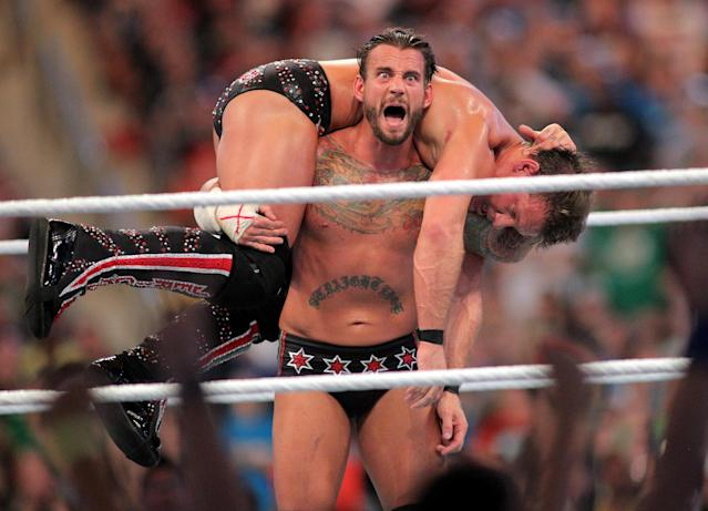 C.M. Punk competes against Chris Jericho at WrestleMania XXVIII in Sun Life Stadium on April 1, 2012 in Miami, Florida. (Marc Serota/AP Images)