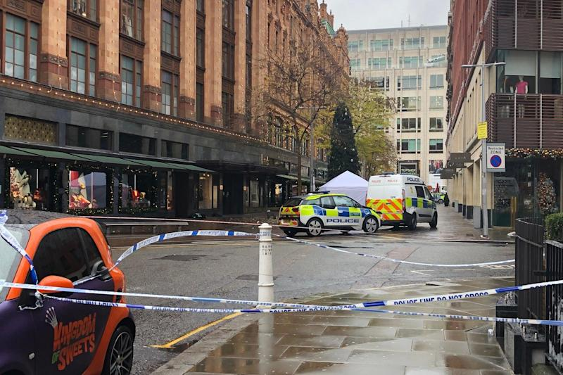 A scene of a fatal stabbing outside Harrods (Edward Hennessy)