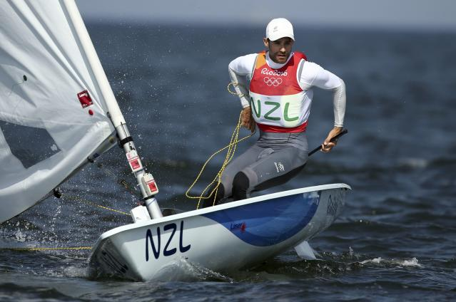 2016 Rio Olympics - Sailing - Preliminary - Men's One Person Dinghy - Laser - Medal Race - Marina de Gloria - Rio de Janeiro, Brazil - 16/08/2016. Sam Meech (NZL) of New Zealand competes. REUTERS/Benoit Tessier FOR EDITORIAL USE ONLY. NOT FOR SALE FOR MARKETING OR ADVERTISING CAMPAIGNS.