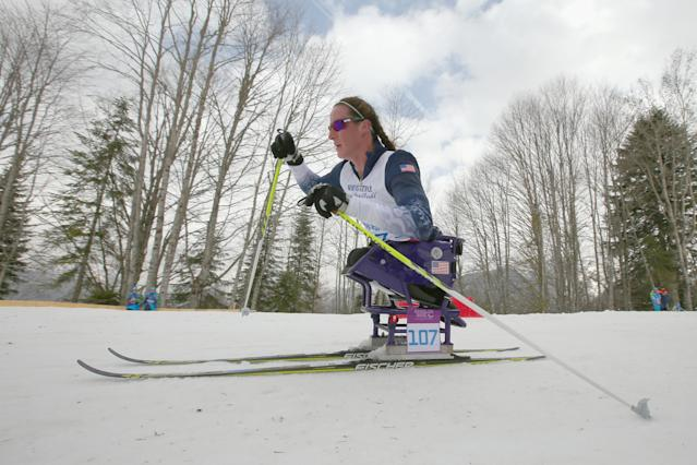 SOCHI, RUSSIA - MARCH 09: Tatyana McFadden of USA competes in the women's 12km sitting cross-country skiing during day two of Sochi 2014 Paralympic Winter Games at Laura Cross-country Ski & Biathlon Center on March 8, 2014 in Sochi, Russia. (Photo by Mark Kolbe/Getty Images)