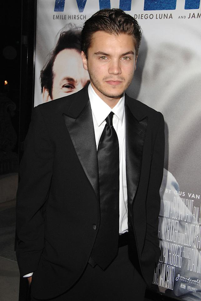 """<a href=""""http://movies.yahoo.com/movie/contributor/1804492088"""">Emile Hirsch</a> at the Los Angeles premiere of <a href=""""http://movies.yahoo.com/movie/1810041985/info"""">Milk</a> - 11/13/2008"""