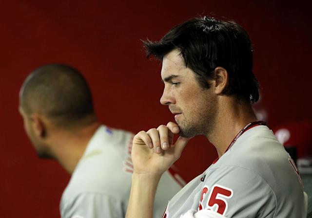PHOENIX, AZ - APRIL 25: Starting pitcher Cole Hamels #35 of the Philadelphia Phillies reacts in the dugout during the MLB game against the Arizona Diamondbacks at Chase Field on April 25, 2012 in Phoenix, Arizona. (Photo by Christian Petersen/Getty Images)