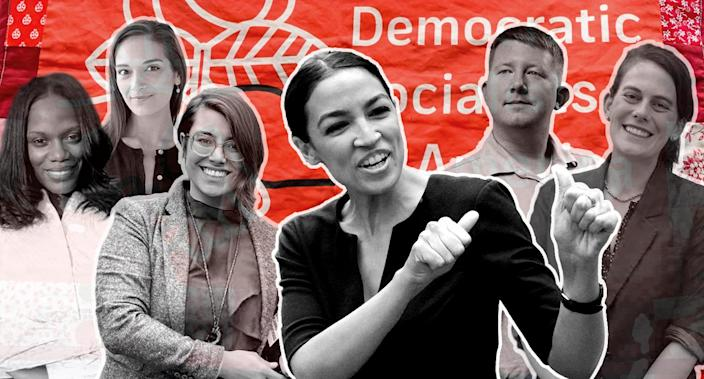 Up-and-coming DSA candidates, from left: Summer Lee, Julia Salazar, Sara Innamorato, Alexandria Ocasio-Cortez, Lee Carter, Elizabeth Fiedler. (Photo illustration: Yahoo News; photos: SummerForPA via Facebook, Julia Salazar for State Senate via Facebook, SaraForPA via Facebook, Mark Lennihan/AP, Brendan Smialowski/AFP/Getty Images, Fiedler4Philly via Facebook)