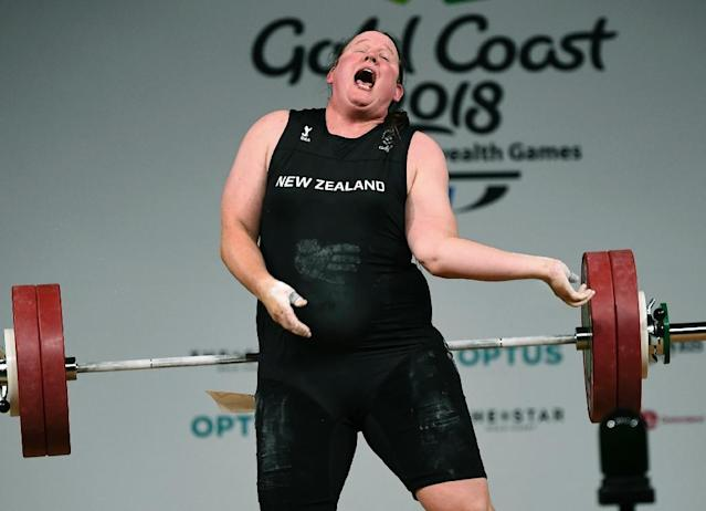 Laurel Hubbard of New Zealand was leading the women's +90kg weightlifting when she injured her elbow. (AFP Photo/WILLIAM WEST)