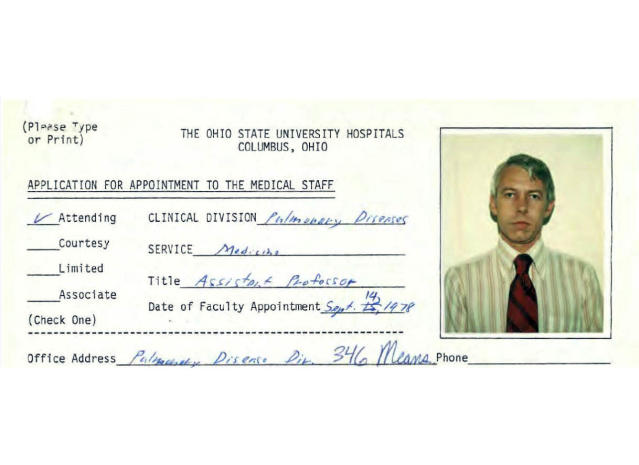 This file photo shows a 1978 employment application information for Dr. Richard Strauss, from Ohio State University personnel files. Strauss, who died in 2005, has been accused of sexual misconduct by former college student athletes. (Ohio State University via AP, File)