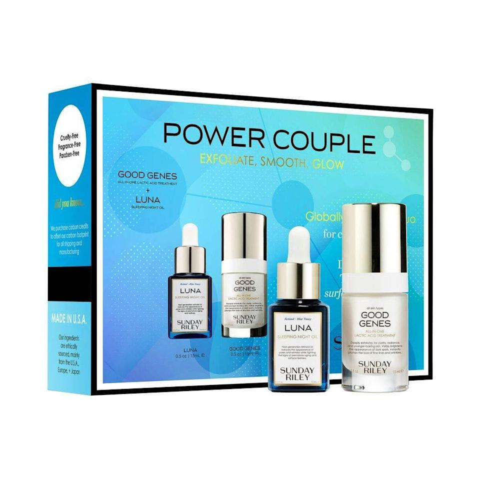"<br><br><strong>Sunday Riley</strong> Power Couple Kit, $, available at <a href=""https://amzn.to/3g9DlAa"" rel=""nofollow noopener"" target=""_blank"" data-ylk=""slk:Amazon"" class=""link rapid-noclick-resp"">Amazon</a>"