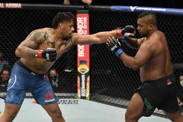Greg Hardy said the empty arena on Saturday allowed him hear valuable fight advice from a cageside announcer. (Jeff Bottari/Zuffa LLC)