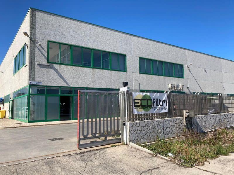 General view of the outside of the headquarters of Italian filter supplier Ecofiltri