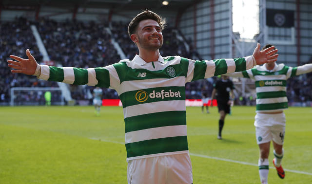 Britain Football Soccer - Heart of Midlothian v Celtic - Scottish Premiership - Tynecastle - 2/4/17 Celtic's Patrick Roberts celebrates scoring their third goal Reuters / Russell Cheyne Livepic