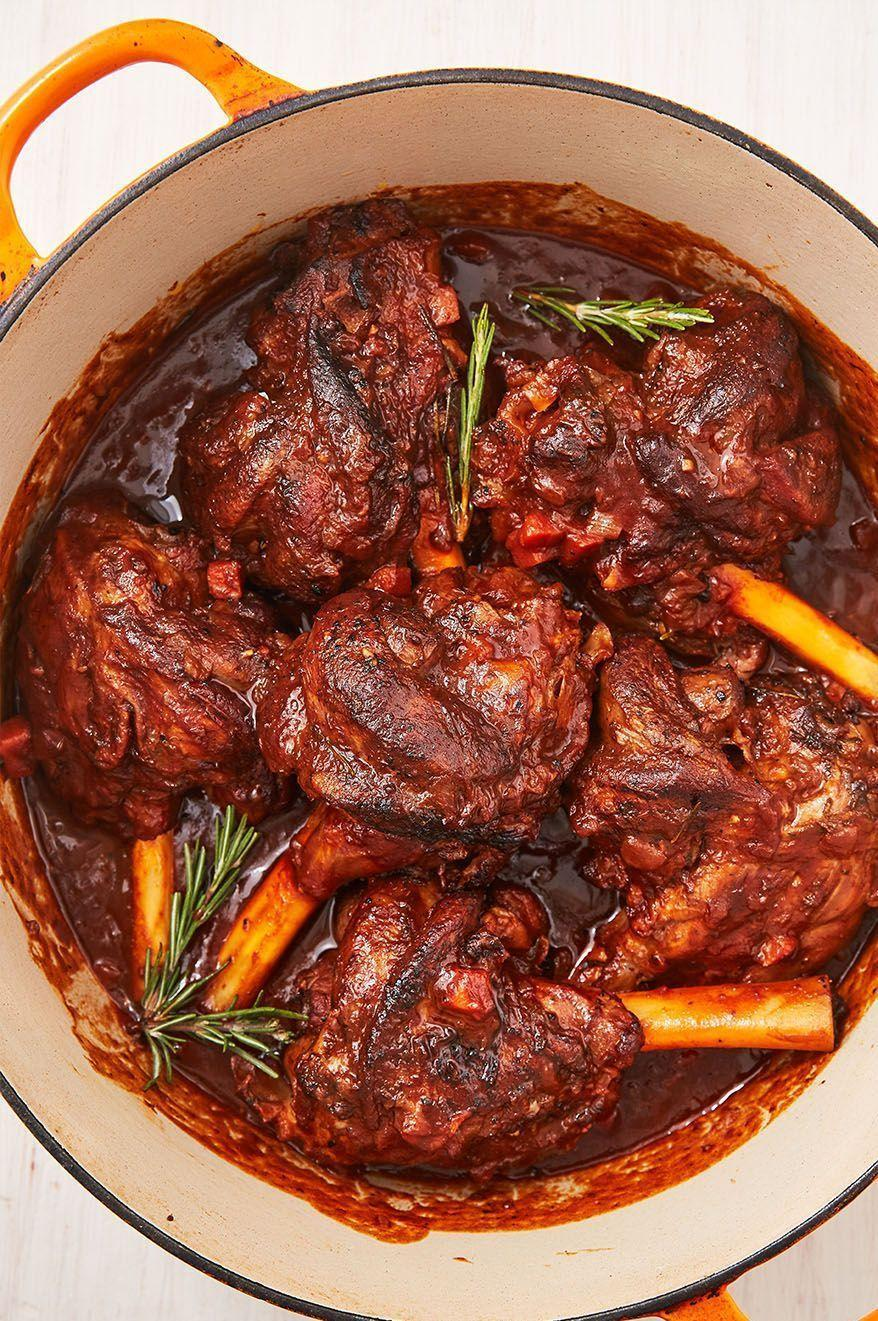 """<p>Braising <a href=""""https://www.delish.com/uk/cooking/recipes/a32152559/lamb-burger-recipe/"""" rel=""""nofollow noopener"""" target=""""_blank"""" data-ylk=""""slk:lamb"""" class=""""link rapid-noclick-resp"""">lamb</a> shanks might sound a little intimidating, but honestly, it couldn't be easier. After a quick sear, the oven does all the work for you! You'll have the most tender, fall-off-the-bone lamb for the most comforting dinner you've had all year!</p><p>Get the <a href=""""https://www.delish.com/uk/cooking/recipes/a32327534/braised-lamb-shank-recipe/"""" rel=""""nofollow noopener"""" target=""""_blank"""" data-ylk=""""slk:Braised Lamb Shanks"""" class=""""link rapid-noclick-resp"""">Braised Lamb Shanks</a> recipe.</p>"""