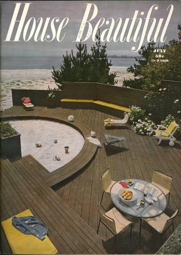 """<p>This July issue from 1950 screams retro summer (<a href=""""https://www.housebeautiful.com/design-inspiration/real-estate/a34425788/neutra-house-slim-aarons-photo-25-million/"""" rel=""""nofollow noopener"""" target=""""_blank"""" data-ylk=""""slk:Slim Aarons"""" class=""""link rapid-noclick-resp"""">Slim Aarons</a> would be right at home). But with the gorgeous wood deck, firepit, and oceanfront view, we wouldn't ask for anything more today.</p>"""