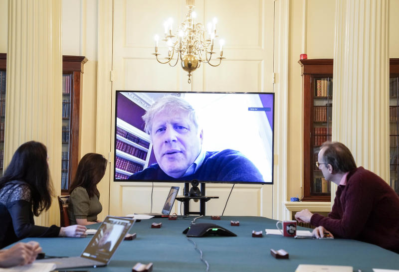 The Prime Minister has been chairing video-link meetings from self-isolation. (PA)