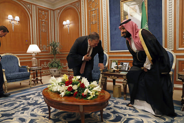 US secretary of stateMike Pompeo meeting with Crown Prince Mohammed bin Salman over the disappearance of Khashoggi