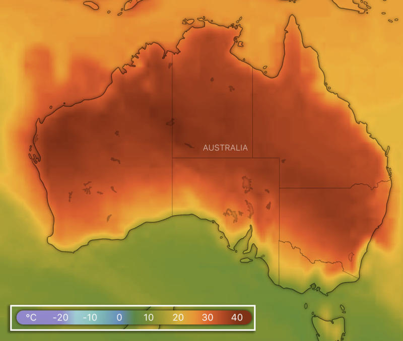 A map showing high temperatures across Australia forecast for 5pm on Tuesday. Source: Windy