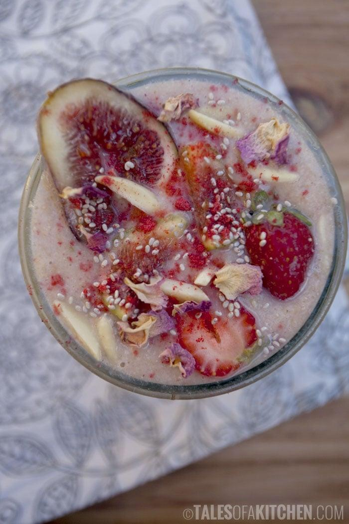 "<p><strong>Get the recipe:</strong> <a href=""http://talesofakitchen.com/breakfast/almond-fig-and-strawberry-smoothie/"" rel=""nofollow noopener"" target=""_blank"" data-ylk=""slk:almond fig and strawberry smoothie"" class=""link rapid-noclick-resp"">almond fig and strawberry smoothie</a></p>"