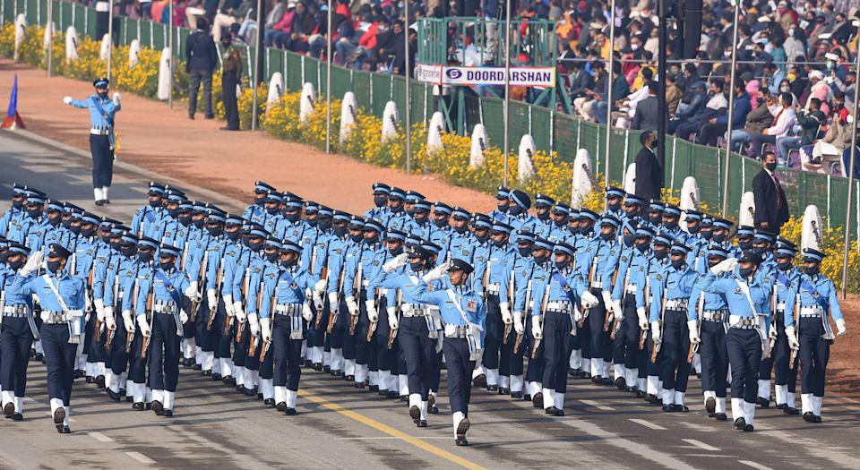 New Delhi: Members of Indian Air Force (IAF) contingent pass through Rajpath during the 72nd Republic Day celebrations, in New Delhi, Tuesday, Jan. 26, 2021.