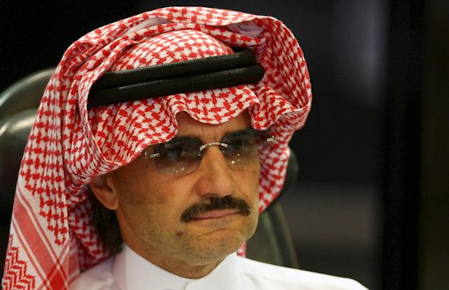 Saudi Prince Al-Waleed bin Talal attends a news conference in Riyadh, Saudi Arabia August 30, 2009. REUTERS/Fahad Shadeed/File Photo