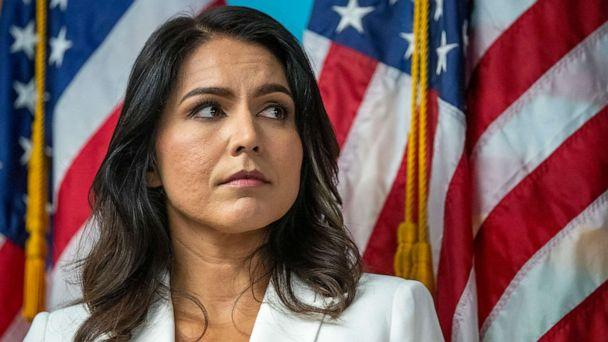 PHOTO: Democratic presidential candidate U.S. Rep. Tulsi Gabbard listens as family members of victims of the terrorist attacks on 9/11 speak during a news conference at the 9/11 Tribute Museum, Oct. 29, 2019, in New York. (Mary Altaffer/AP, FILE)