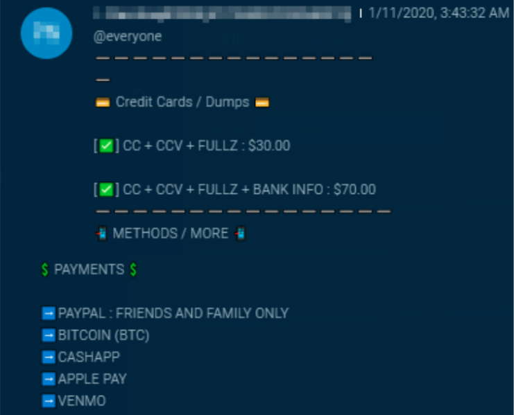 A listing for a dump of credit card info. (Sixgill)