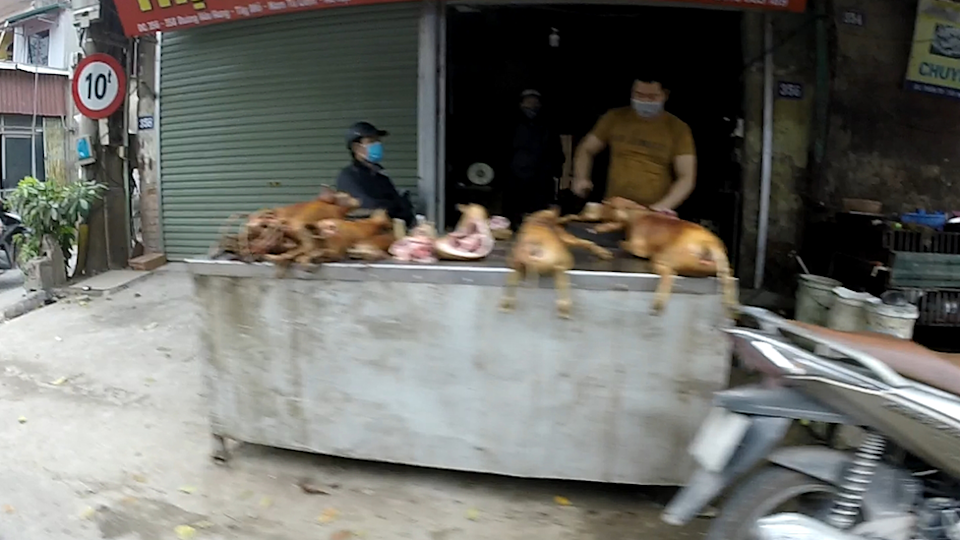 GoPro still of two people wearing masks and butchering dog carcasses in Vietnam.