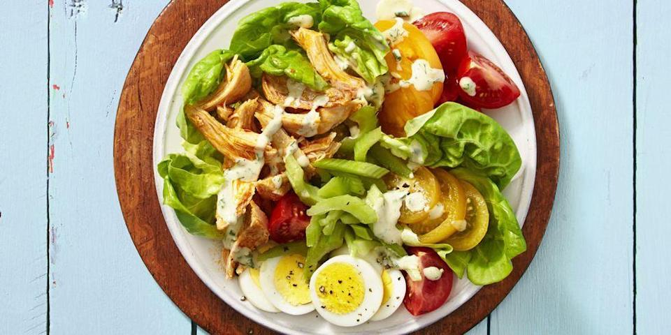 """<p><a href=""""https://www.goodhousekeeping.com/food-recipes/easy/g755/chicken-breast-recipes/"""" rel=""""nofollow noopener"""" target=""""_blank"""" data-ylk=""""slk:Chicken recipes"""" class=""""link rapid-noclick-resp"""">Chicken recipes</a> are key to keep in your back pocket when you need to get dinner on the table fast. And these rotisserie chicken recipes, using leftover chicken breast or shredded rotisserie chicken you picked up at the grocery store, help to get your family meal finished in record time. From <a href=""""https://www.goodhousekeeping.com/food-recipes/healthy/g4056/healthy-chicken-dinners/"""" rel=""""nofollow noopener"""" target=""""_blank"""" data-ylk=""""slk:healthy chicken recipes"""" class=""""link rapid-noclick-resp"""">healthy chicken recipes</a> to comforting rotisserie chicken casseroles, these delectable dishes will turn your blah leftovers into brilliant <a href=""""https://www.goodhousekeeping.com/food-recipes/easy/g32159252/easy-kids-dinner-ideas/"""" rel=""""nofollow noopener"""" target=""""_blank"""" data-ylk=""""slk:family-friendly meals"""" class=""""link rapid-noclick-resp"""">family-friendly meals</a>.</p><p>While chicken is a great ingredient to keep in the fridge for those nights when roasting a protein is too time-consuming, it's simple to get into a rut with the same chicken salad or <a href=""""https://www.goodhousekeeping.com/food-recipes/easy/g26102687/instant-pot-soups/"""" rel=""""nofollow noopener"""" target=""""_blank"""" data-ylk=""""slk:chicken noodle soup"""" class=""""link rapid-noclick-resp"""">chicken noodle soup</a>. No more, thanks to these flavor-packed recipes that give new life to your leftover chicken! We love shredded chicken for the easy <a href=""""https://www.goodhousekeeping.com/health/diet-nutrition/g28567696/best-high-protein-low-carb-foods/"""" rel=""""nofollow noopener"""" target=""""_blank"""" data-ylk=""""slk:hit of protein"""" class=""""link rapid-noclick-resp"""">hit of protein</a> it adds to a simple salad (like our Buffalo Chicken Cobb that tastes like the wings you love with an extra dose of veggies!). It also offers ideal shortcut w"""