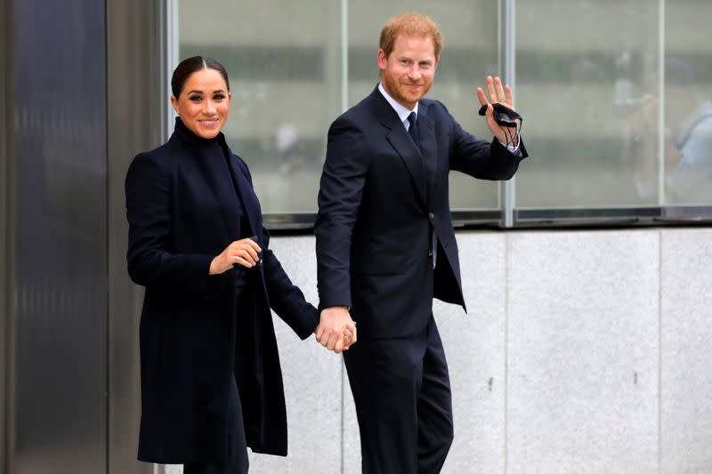 Britain's Prince Harry and Meghan, Duke and Duchess of Sussex, visit the 9/11 Memorial in Manhattan, New York City