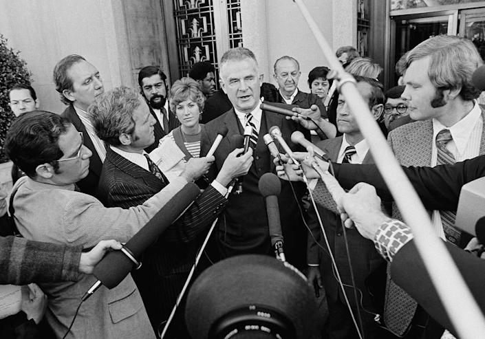 <p>Special Watergate prosecutor Archibald Cox talks to media outside the U.S. District Court in Washington after ousted White House counsel John W. Dean III pleaded guilty to conspiring to obstruct the Watergate investigation on Oct. 19, 1973. (Photo: AP) </p>