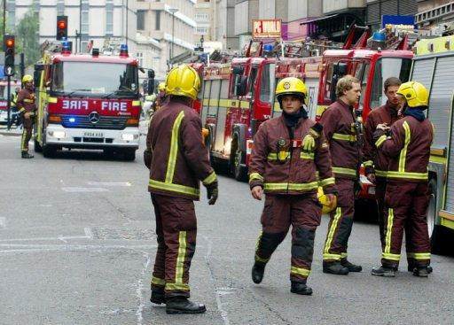 Fire crews attend an incident at Aldgate, central London. In the past three years the London Fire Brigade has rescued 79 people unable to escape handcuffs, as well as nine men with rings stuck on their penises, one with his penis trapped in a toaster and another in a vacuum cleaner