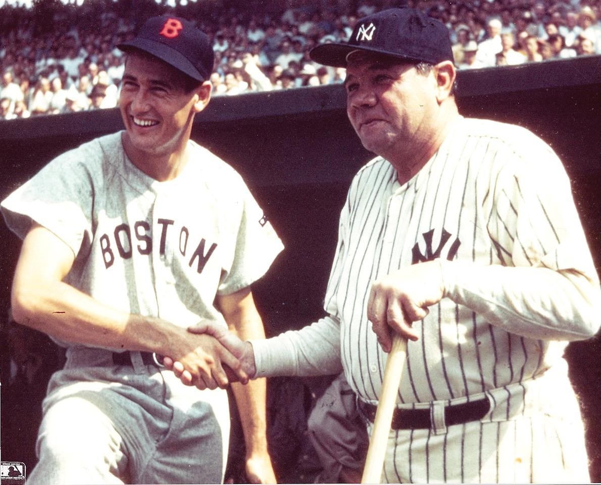 Williams is pictured with Babe Ruth.
