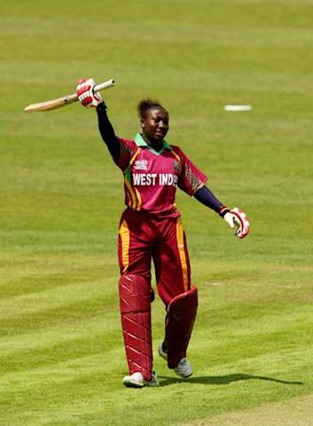 Stafanie Taylor of the West Indies celebrates getting her half century during the ICC Women's World Twenty20 match between West Indies and South Africa at The County Ground. (Getty Images)