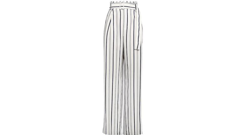 VINCE. Belted striped twill wide-leg pants