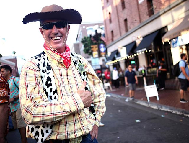 <p>Cosplayer dressed as Woody at Comic-Con International on July 19, 2018, in San Diego. (Photo: Tommaso Boddi/Getty Images) </p>
