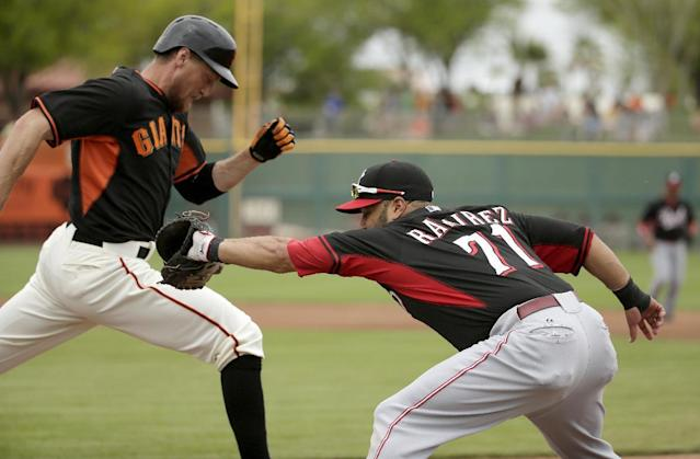 Cincinnati Reds first baseman Max Ramirez, right, forces San Francisco Giants first baseman Brandon Belt out at first during the first inning of a spring training baseball game in Scottsdale, Ariz., Thursday, March 6, 2014. (AP Photo/Chris Carlson)