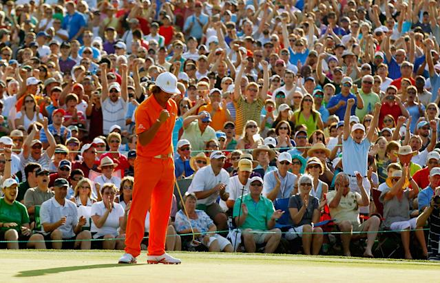 CHARLOTTE, NC - MAY 06: Rickie Fowler of the United States celebrates after making a putt for birdie on the first playoff hole to defeat Rory McIlroy of Northern Ireland and D.A. Points of the United States during the final round to win the Wells Fargo Championship at the Quail Hollow Club on May 6, 2012 in Charlotte, North Carolina. (Photo by Mike Ehrmann/Getty Images)
