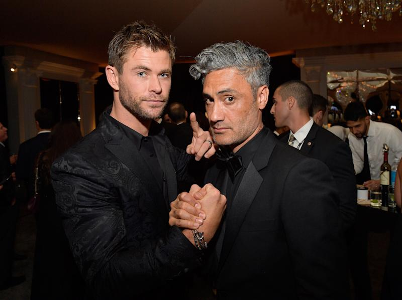 BEVERLY HILLS, CA - JANUARY 07: Actor Chris Hemsworth (L) and director Taika Waititi attend the 2018 InStyle and Warner Bros. 75th Annual Golden Globe Awards Post-Party at The Beverly Hilton Hotel on January 7, 2018 in Beverly Hills, California. (Photo by Matt Winkelmeyer/Getty Images for InStyle)