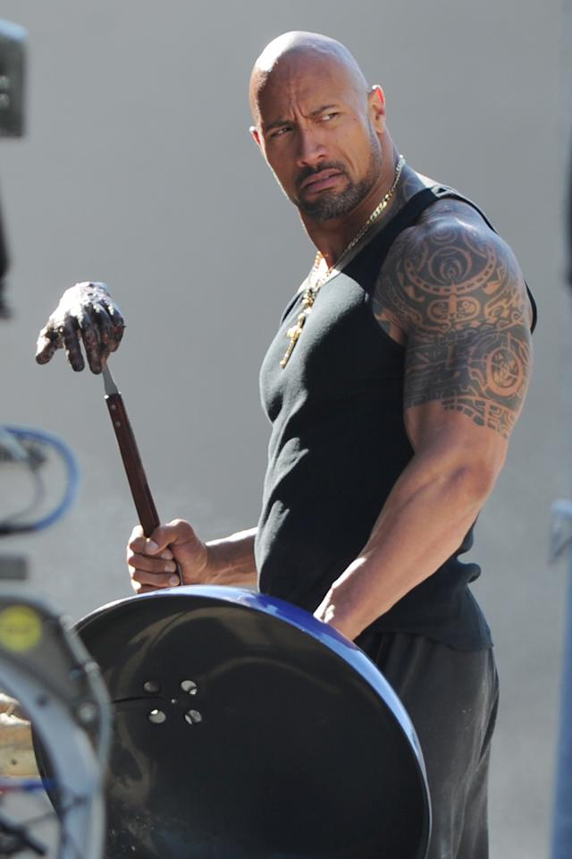 """Dwayne """"The Rock"""" Johnson is sighted on the movie set of """"Pain and Gain"""" on April 25, 2012 in Miami Beach, Florida."""