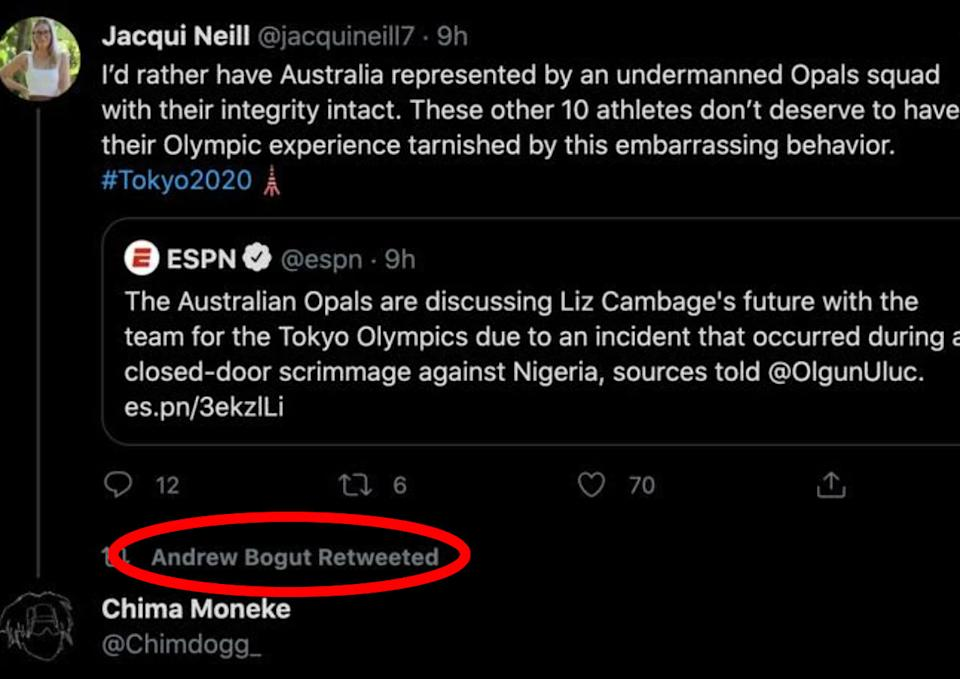 Seen here, the post about Liz Cambage that Andrew Bogut retweeted.