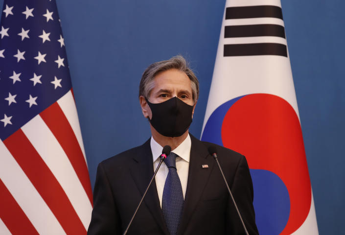 U.S. Secretary of State Antony Blinken speaks during the joint press conference after their meeting with U.S. Defense Secretary Lloyd Austin, South Korean Foreign Minister Chung Eui-yong, and South Korean Defense Minister Suh Wook at the Foreign Ministry in Seoul, South Korea, Thursday, March 18, 2021. (AP Photo/Lee Jin-man, Pool)