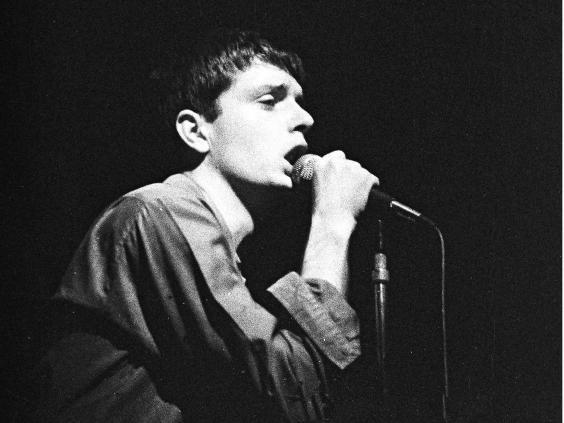 Joy Division in concert at the Electric Ballroom, London, in October 1979. Curtis died by suicide seven months later (Rex)
