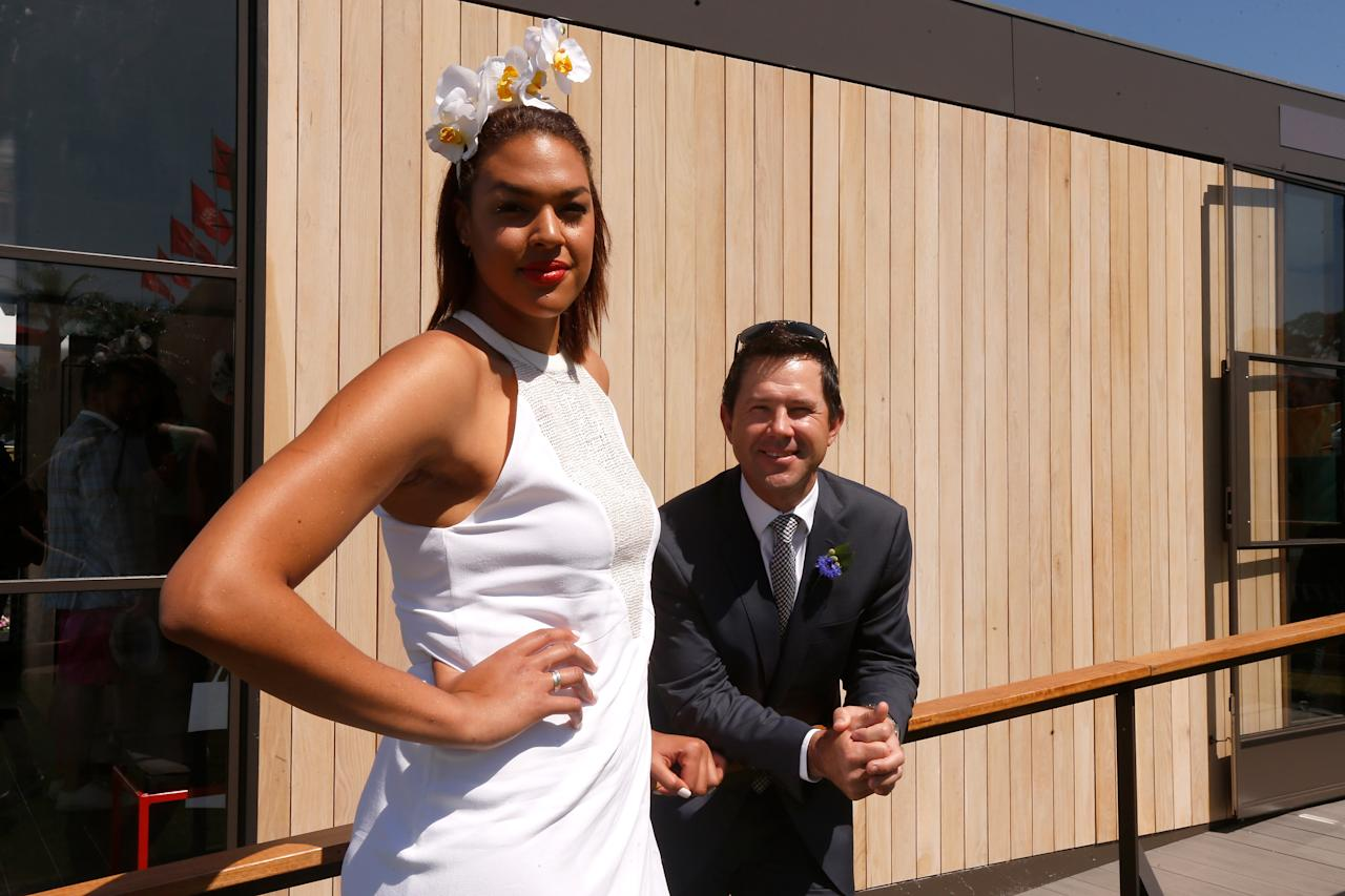 MELBOURNE, AUSTRALIA - NOVEMBER 02:  Former Australian cricket captain Ricky Ponting and Australian basketballer Liz Cambage pose at Flemington Racecourse on November 2, 2013 in Melbourne, Australia.  (Photo by Darrian Traynor/Getty Images for the VRC)