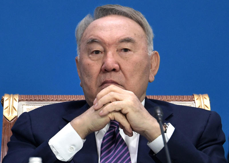 FILE In this file photo taken on Wednesday, May 29, 2019, Former Kazakh President Nursultan Nazarbayev attends the Supreme Eurasian Economic Council meeting in Nur-Sultan, the capital city of Kazakhstan. For the first time in nearly three decades of independence, Kazakhstan is holding a presidential election without Nursultan Nazarbayev on the ballot, but the longtime leader of the oil-rich Central Asian country casts a long shadow on the vote. (Alexei Nikolsky, Sputnik, Kremlin Pool Photo via AP, File)