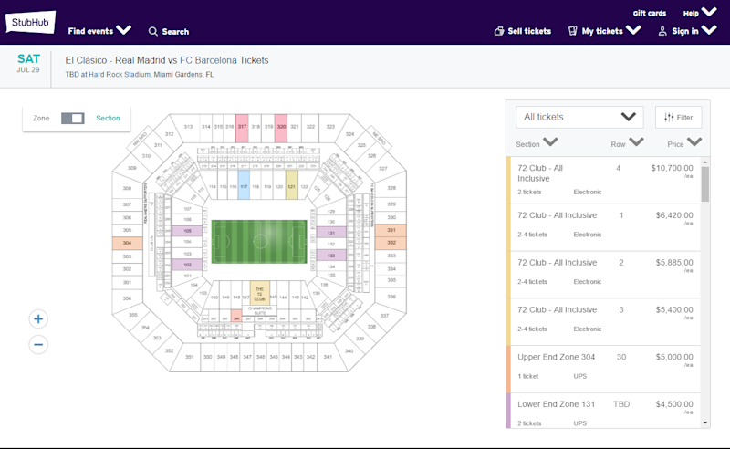 Barca Madrid Miami ticket prices