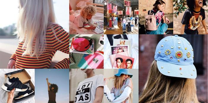Collage of various Urban Outfitters products including shirts, shoes, and hats.