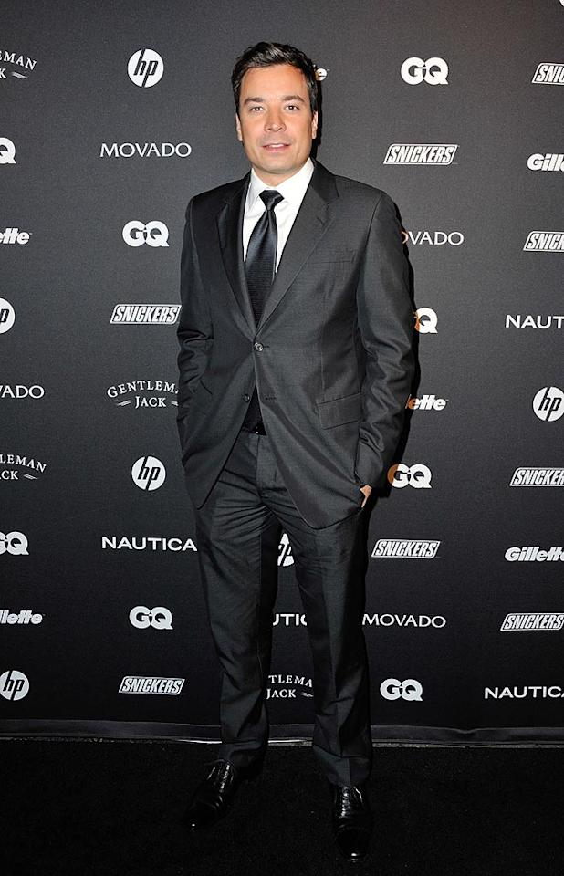 """Late night talker Jimmy Fallon was chic in a traditional dark suit and white shirt. Is it just us, or does the """"SNL"""" alum look like a hottie when he's all dressed up? D Dipasupil/<a href=""""http://www.filmmagic.com/"""" target=""""new"""">FilmMagic.com</a> - October 27, 2010"""