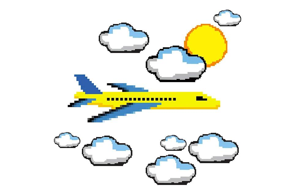 digital illustration of a plane, clouds, and sun