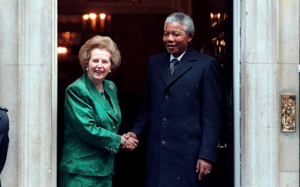 Mrs Thatcher and Nelson Mandela outside No 10 on July 4 1990 - Reuters
