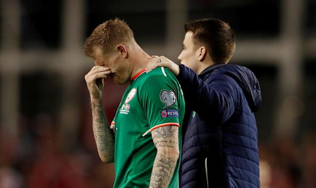 Soccer Football - 2018 World Cup Qualifications - Europe - Republic of Ireland vs Denmark - Aviva Stadium, Dublin, Republic of Ireland - November 14, 2017 Republic of Ireland's James McClean looks dejected after the match Action Images via Reuters/Lee Smith TPX IMAGES OF THE DAY