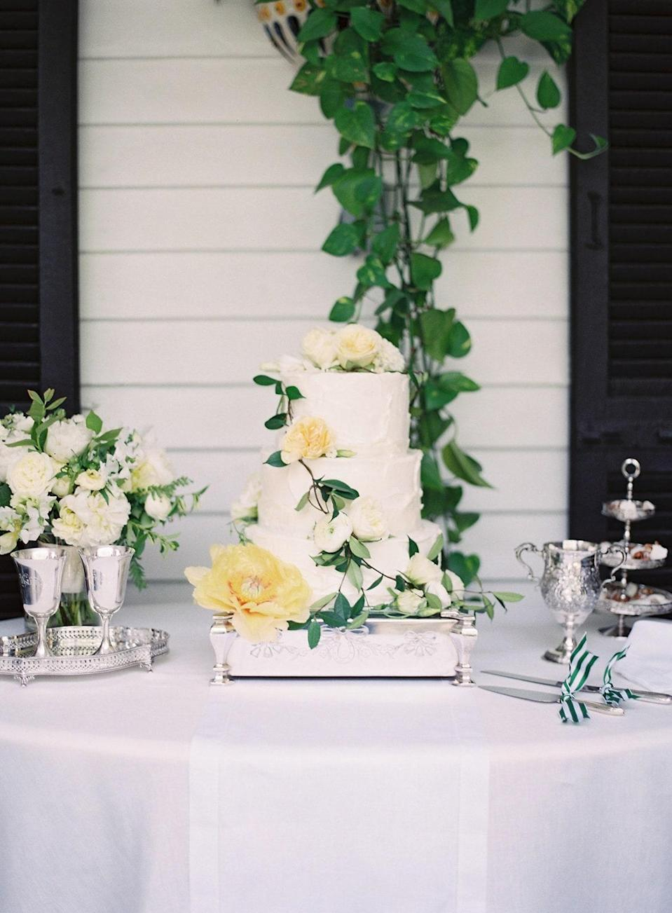 We had a layered almond cake dressed with flowers displayed on a beautiful silver cake stand. We served the cake with fresh peach ice cream, yum!