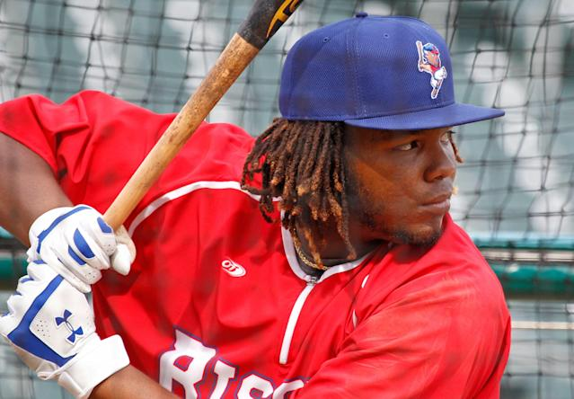Vladimir Guerrero Jr. hit .336 in Triple-A last season. (AP Photo/Jeffrey T. Barnes)