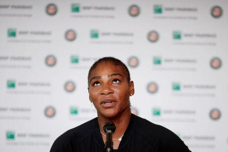 Serena Williams of the U.S during a press conference after withdrawing from the French Open. REUTERS/Benoit Tessier